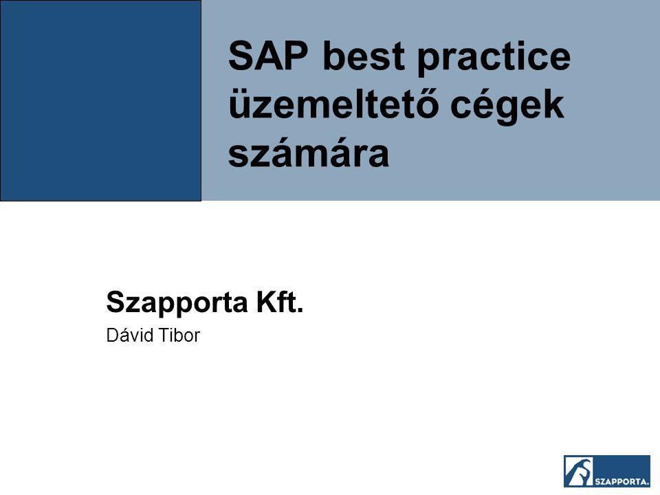 SAP best practice üzemeltető cégek számára Szapporta Kft. Dávid Tibor