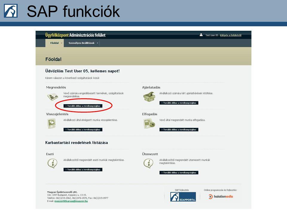 SAP funkciók