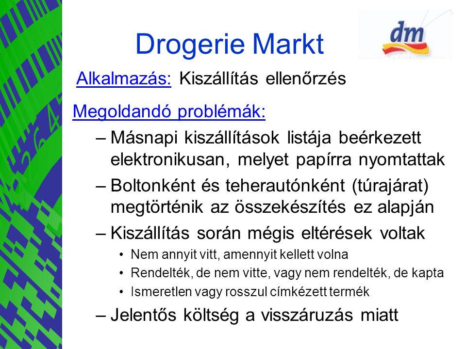 Drogerie Markt Alkalmazás: Kiszállítás ellenőrzés Megoldandó problémák: –Másnapi kiszállítások listája beérkezett elektronikusan, melyet papírra nyomt
