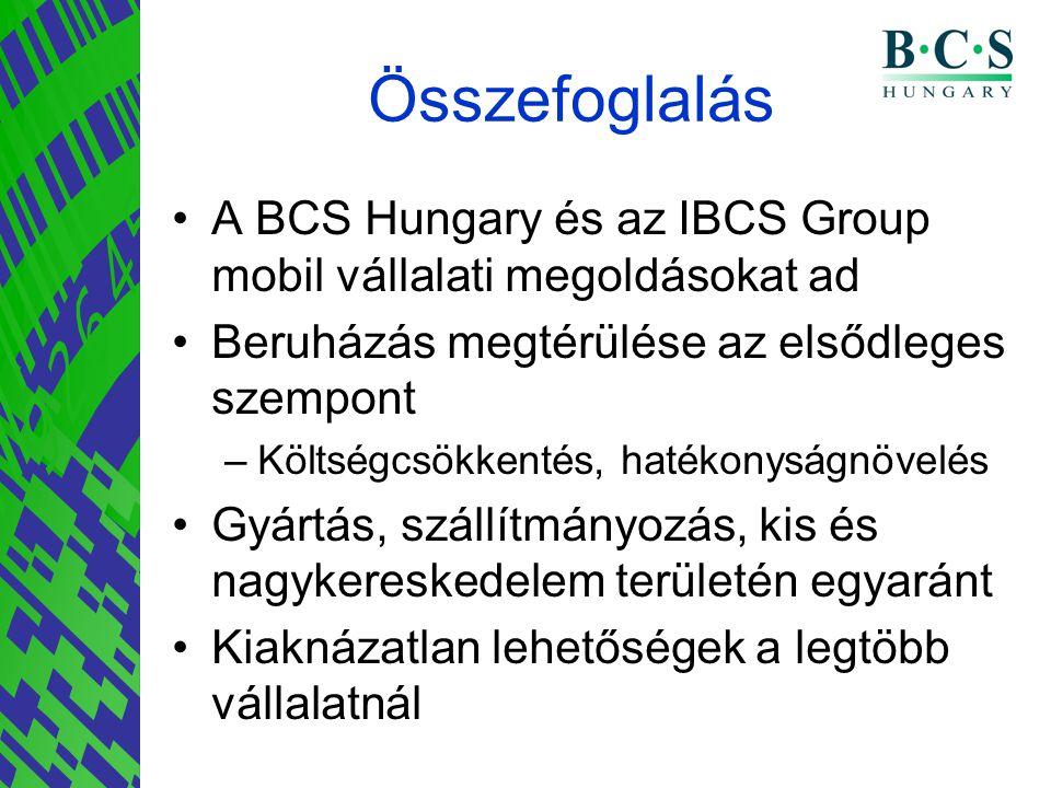 Összefoglalás •A BCS Hungary és az IBCS Group mobil vállalati megoldásokat ad •Beruházás megtérülése az elsődleges szempont –Költségcsökkentés, hatéko