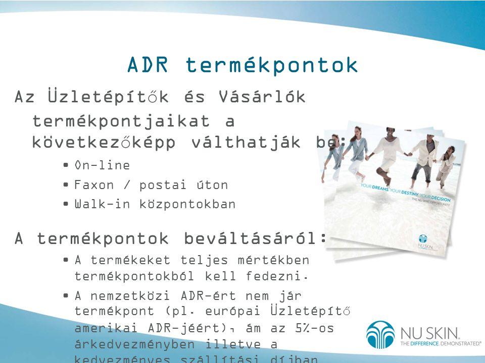 ADR termékpontok Az Üzletépítők és Vásárlók termékpontjaikat a következőképp válthatják be: •On-line •Faxon / postai úton •Walk-in központokban A term
