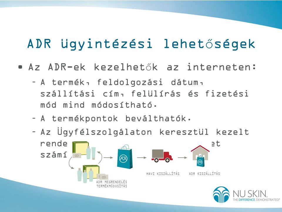 ADR ügyintézési lehetőségek •Az ADR-ek kezelhetők az interneten: –A termék, feldolgozási dátum, szállítási cím, felülírás és fizetési mód mind módosít