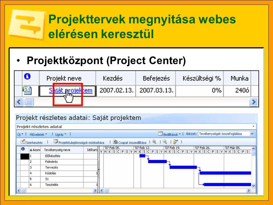 Projekttervek megnyitása webes elérésen keresztül •Projektközpont (Project Center)