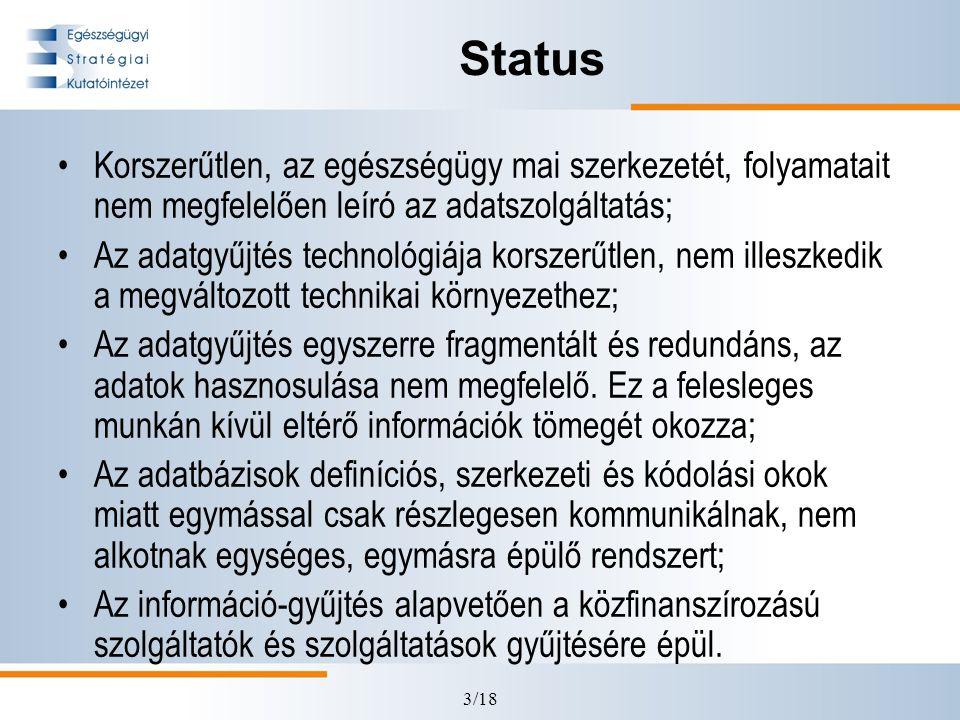 3/18 Status •Korszerűtlen, az egészségügy mai szerkezetét, folyamatait nem megfelelően leíró az adatszolgáltatás; •Az adatgyűjtés technológiája korszerűtlen, nem illeszkedik a megváltozott technikai környezethez; •Az adatgyűjtés egyszerre fragmentált és redundáns, az adatok hasznosulása nem megfelelő.