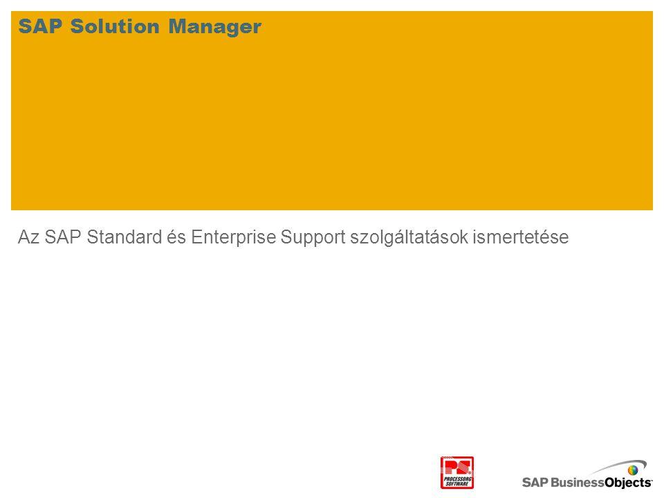 Az SAP Standard és Enterprise Support szolgáltatások ismertetése SAP Solution Manager