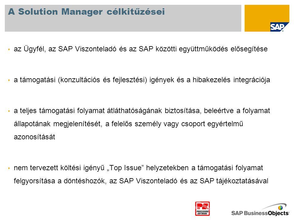 A Solution Manager célkitűzései • az Ügyfél, az SAP Viszonteladó és az SAP közötti együttműködés elősegítése • a támogatási (konzultációs és fejleszté