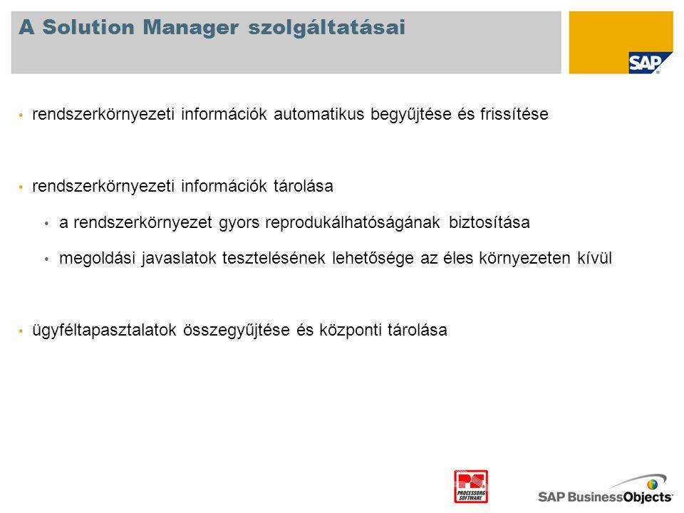 A Solution Manager szolgáltatásai • rendszerkörnyezeti információk automatikus begyűjtése és frissítése • rendszerkörnyezeti információk tárolása • a