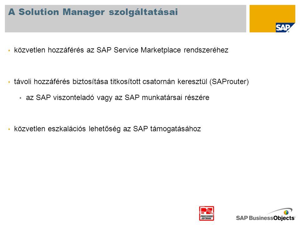 A Solution Manager szolgáltatásai • közvetlen hozzáférés az SAP Service Marketplace rendszeréhez • távoli hozzáférés biztosítása titkosított csatornán