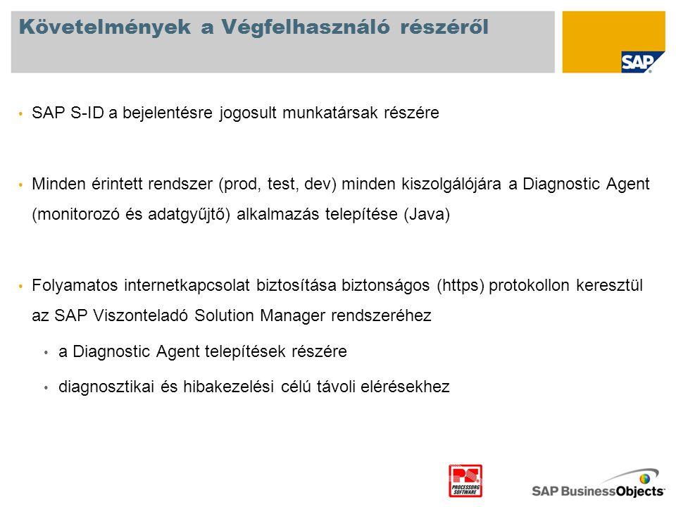 Követelmények a Végfelhasználó részéről • SAP S-ID a bejelentésre jogosult munkatársak részére • Minden érintett rendszer (prod, test, dev) minden kis