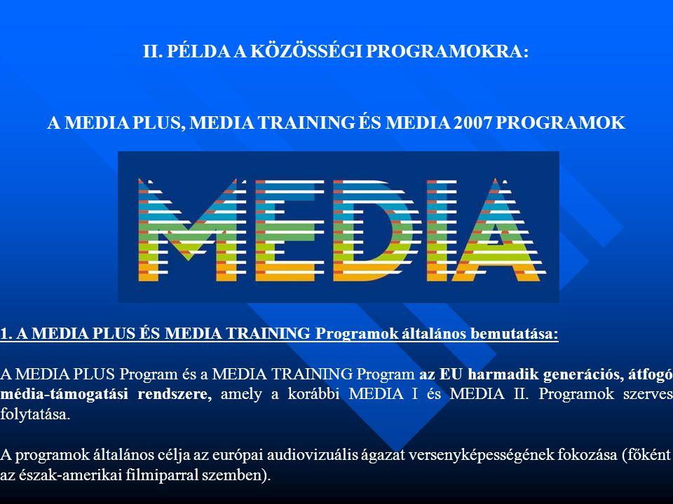 II. PÉLDA A KÖZÖSSÉGI PROGRAMOKRA: A MEDIA PLUS, MEDIA TRAINING ÉS MEDIA 2007 PROGRAMOK 1. A MEDIA PLUS ÉS MEDIA TRAINING Programok általános bemutatá