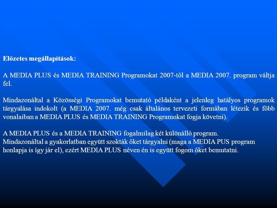 Előzetes megállapítások: A MEDIA PLUS és MEDIA TRAINING Programokat 2007-től a MEDIA 2007. program váltja fel. Mindazonáltal a Közösségi Programokat b