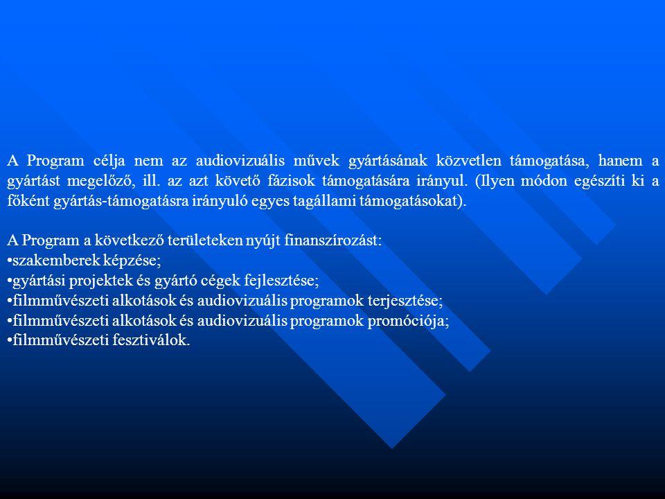 A Program célja nem az audiovizuális művek gyártásának közvetlen támogatása, hanem a gyártást megelőző, ill.