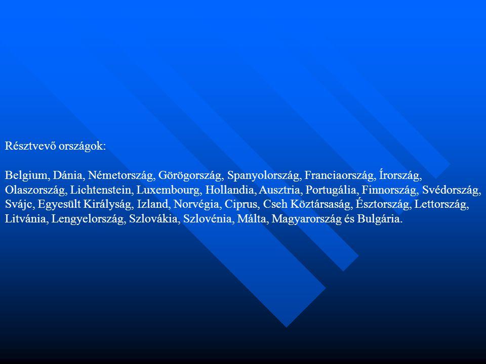 Résztvevő országok: Belgium, Dánia, Németország, Görögország, Spanyolország, Franciaország, Írország, Olaszország, Lichtenstein, Luxembourg, Hollandia, Ausztria, Portugália, Finnország, Svédország, Svájc, Egyesült Királyság, Izland, Norvégia, Ciprus, Cseh Köztársaság, Észtország, Lettország, Litvánia, Lengyelország, Szlovákia, Szlovénia, Málta, Magyarország és Bulgária.