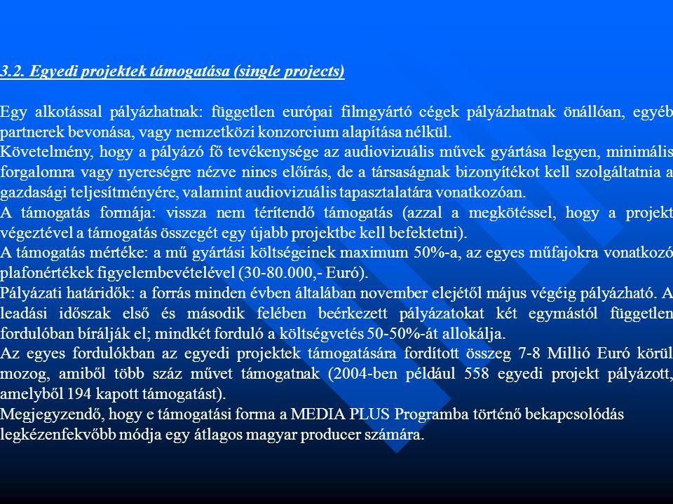 3.2. Egyedi projektek támogatása (single projects) Egy alkotással pályázhatnak: független európai filmgyártó cégek pályázhatnak önállóan, egyéb partne