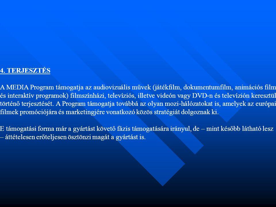 4. TERJESZTÉS A MEDIA Program támogatja az audiovizuális művek (játékfilm, dokumentumfilm, animációs film és interaktív programok) filmszínházi, telev