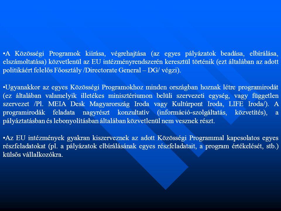•A Közösségi Programok kiírása, végrehajtása (az egyes pályázatok beadása, elbírálása, elszámoltatása) közvetlenül az EU intézményrendszerén keresztül