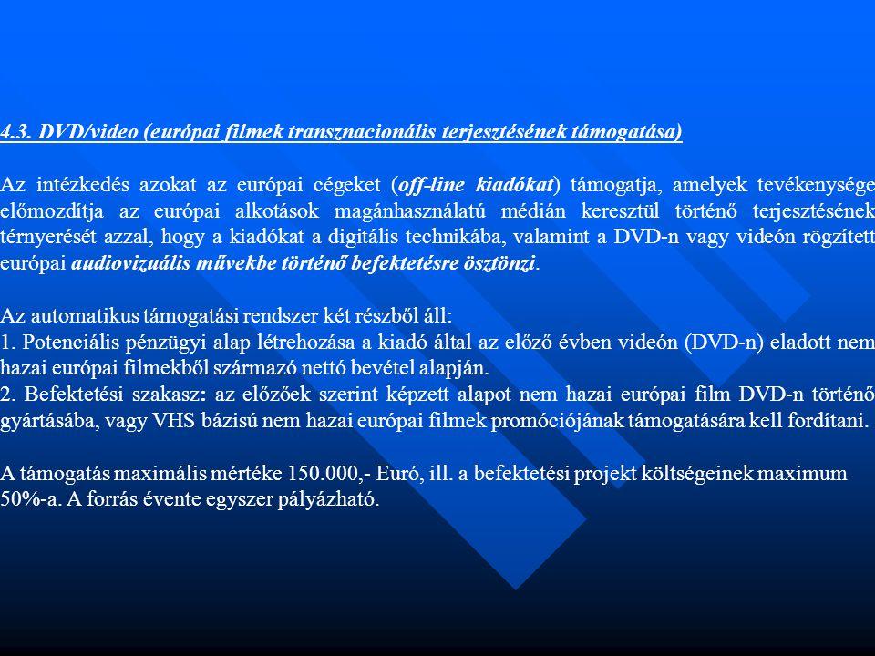 4.3. DVD/video (európai filmek transznacionális terjesztésének támogatása) Az intézkedés azokat az európai cégeket (off-line kiadókat) támogatja, amel