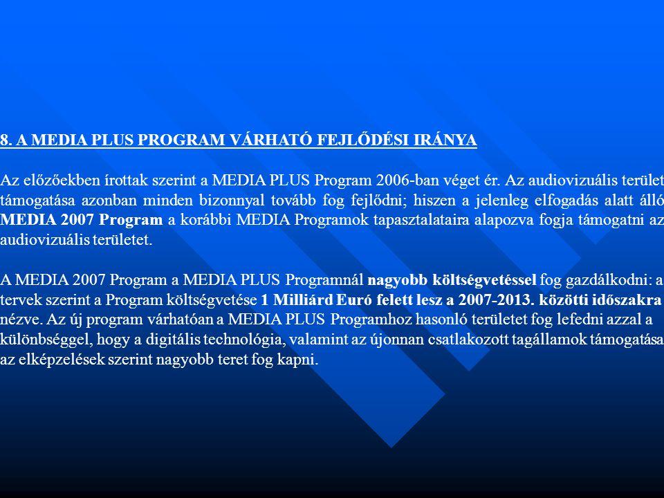 8. A MEDIA PLUS PROGRAM VÁRHATÓ FEJLŐDÉSI IRÁNYA Az előzőekben írottak szerint a MEDIA PLUS Program 2006-ban véget ér. Az audiovizuális terület támoga