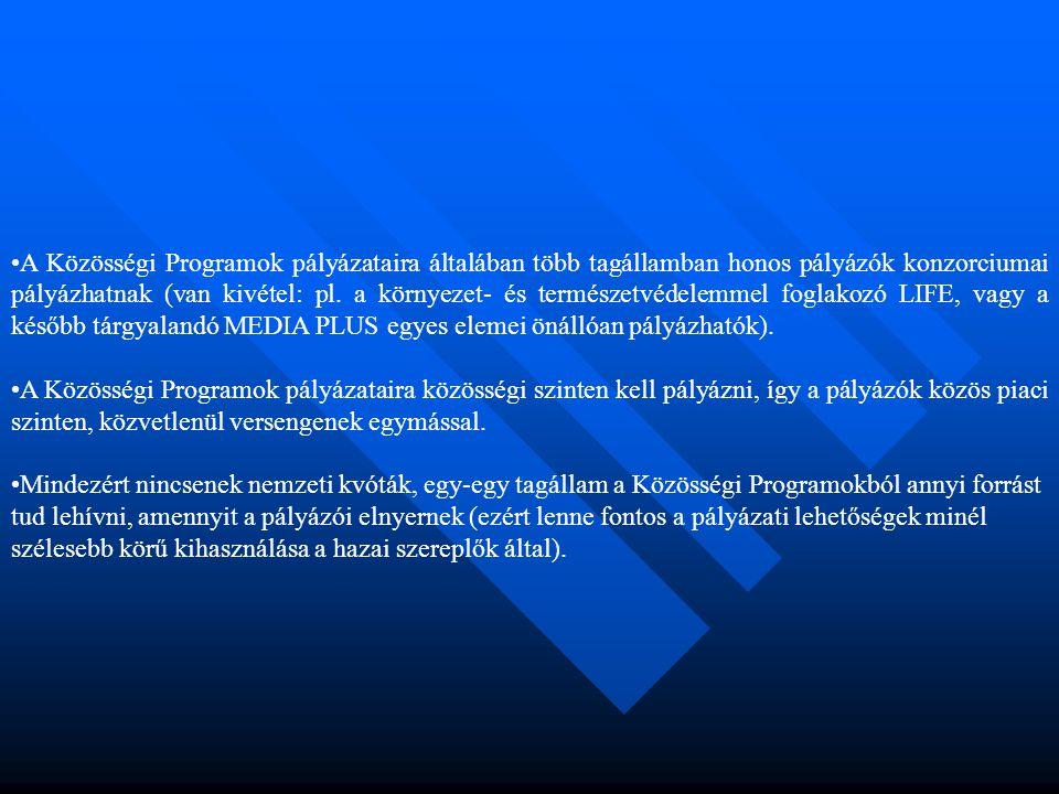 •A Közösségi Programok pályázataira általában több tagállamban honos pályázók konzorciumai pályázhatnak (van kivétel: pl. a környezet- és természetvéd