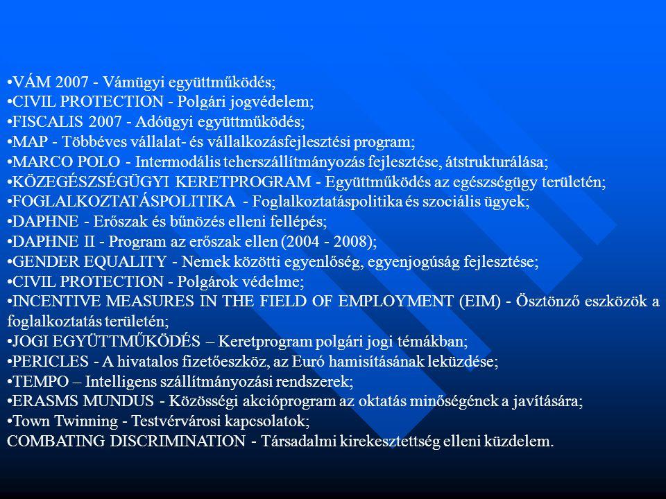 •VÁM 2007 - Vámügyi együttműködés; •CIVIL PROTECTION - Polgári jogvédelem; •FISCALIS 2007 - Adóügyi együttműködés; •MAP - Többéves vállalat- és vállal