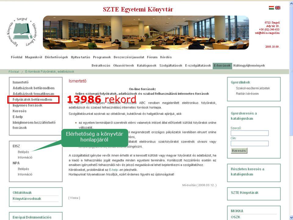 Elérhetőség a könyvtár honlapjáról 13986 rekord