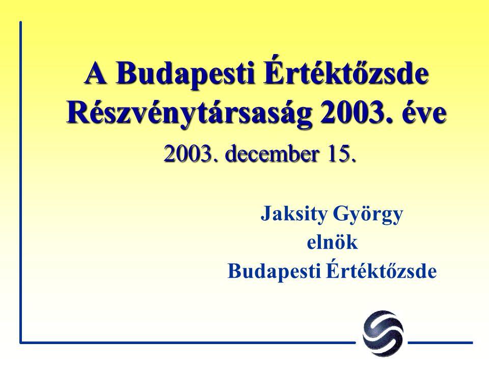 A Budapesti Értéktőzsde Részvénytársaság 2003. éve 2003.
