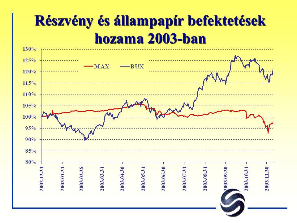 Részvény és állampapír befektetések hozama 2003-ban