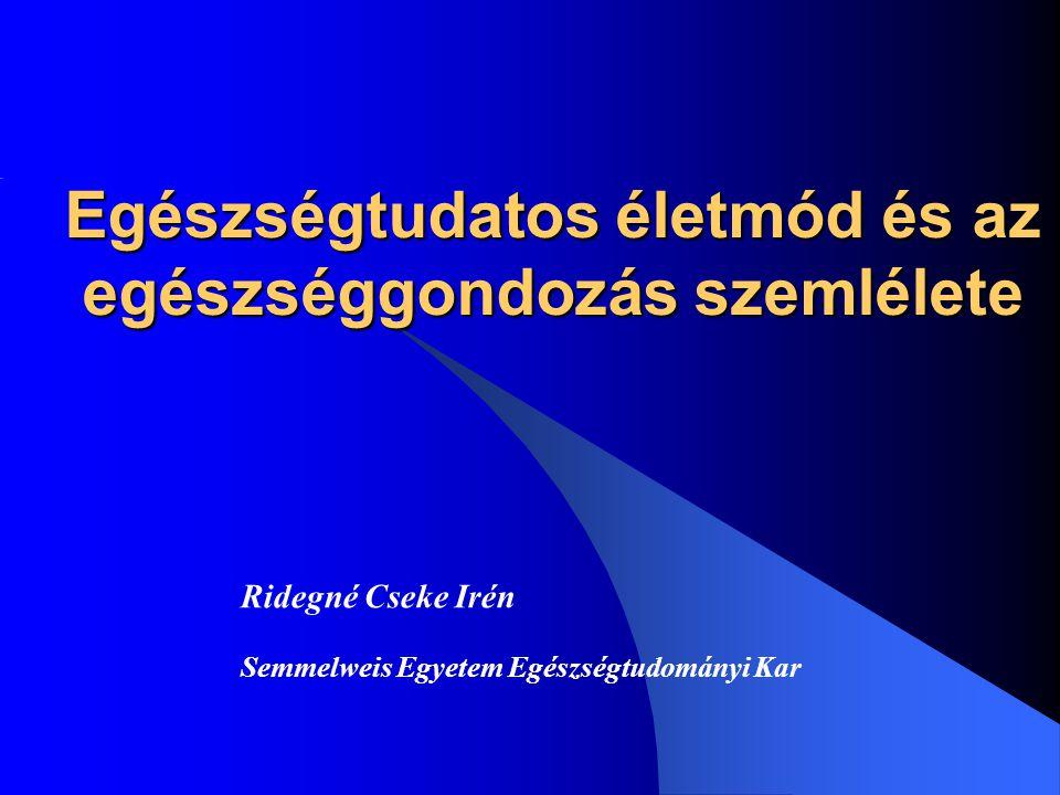Ridegné Cseke Irén 32 Az életmód belső szerkezete: 1)feltételek, lehetőségek 2)szükségletek, indítékok 3)életvitel
