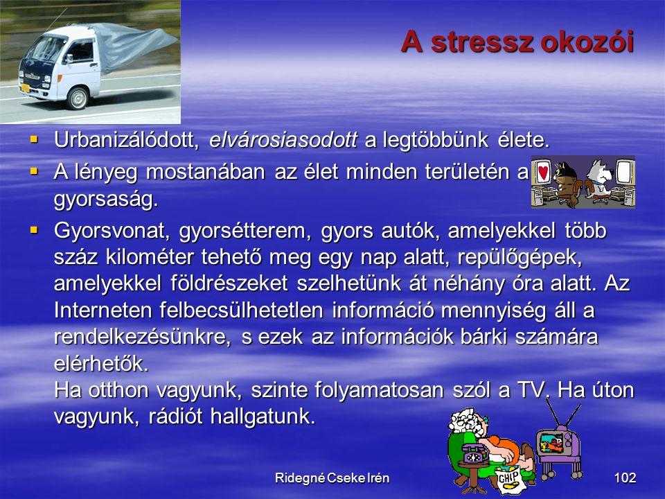 Ridegné Cseke Irén102 A stressz okozói  Urbanizálódott, elvárosiasodott a legtöbbünk élete.  A lényeg mostanában az élet minden területén a gyorsasá