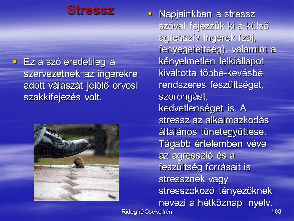 Ridegné Cseke Irén103 Stressz  Ez a szó eredetileg a szervezetnek az ingerekre adott válaszát jelölő orvosi szakkifejezés volt.  Napjainkban a stres