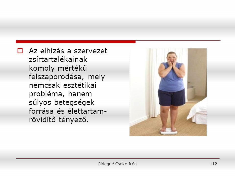 Ridegné Cseke Irén112  Az elhízás a szervezet zsírtartalékainak komoly mértékű felszaporodása, mely nemcsak esztétikai probléma, hanem súlyos betegsé