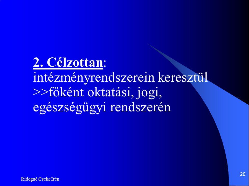Ridegné Cseke Irén 20 2. Célzottan: intézményrendszerein keresztül >>főként oktatási, jogi, egészségügyi rendszerén