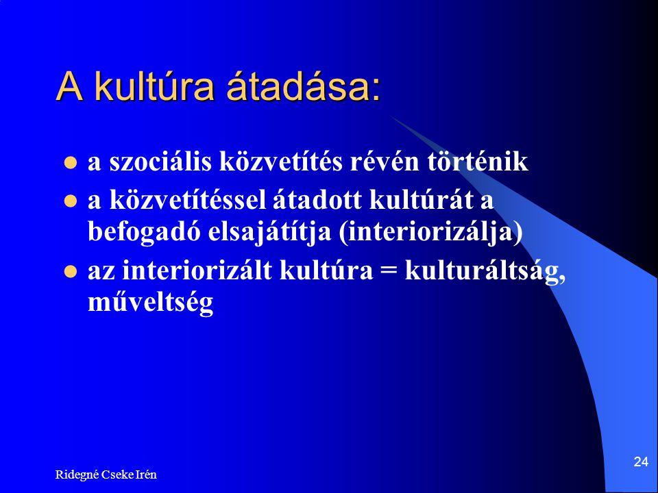 Ridegné Cseke Irén 24 A kultúra átadása:  a szociális közvetítés révén történik  a közvetítéssel átadott kultúrát a befogadó elsajátítja (interioriz