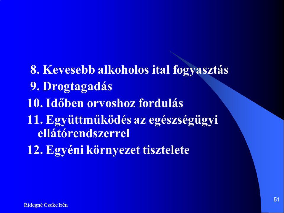 Ridegné Cseke Irén 51 8. Kevesebb alkoholos ital fogyasztás 9. Drogtagadás 10. Időben orvoshoz fordulás 11. Együttműködés az egészségügyi ellátórendsz