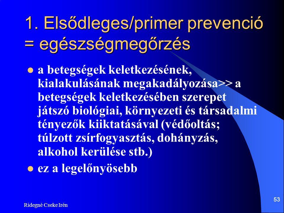 Ridegné Cseke Irén 53 1. Elsődleges/primer prevenció = egészségmegőrzés  a betegségek keletkezésének, kialakulásának megakadályozása>> a betegségek k