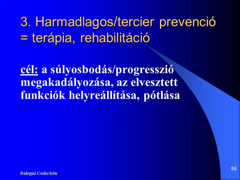 Ridegné Cseke Irén 55 3. Harmadlagos/tercier prevenció = terápia, rehabilitáció cél: a súlyosbodás/progresszió megakadályozása, az elvesztett funkciók