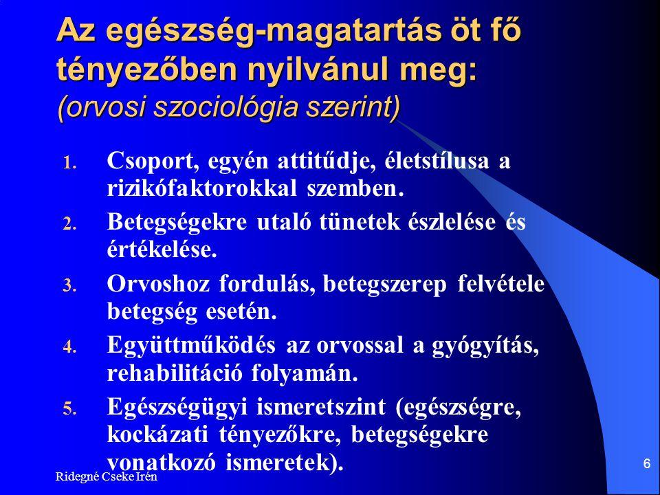 Ridegné Cseke Irén 6 Az egészség-magatartás öt fő tényezőben nyilvánul meg: (orvosi szociológia szerint) 1. Csoport, egyén attitűdje, életstílusa a ri