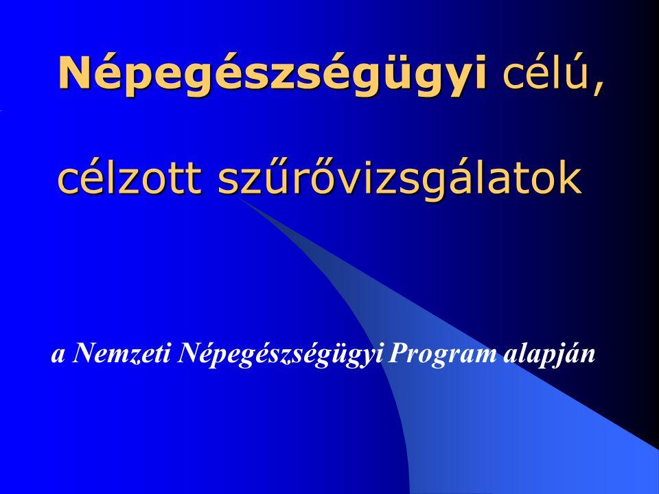 Népegészségügyi célú, célzott szűrővizsgálatok a Nemzeti Népegészségügyi Program alapján