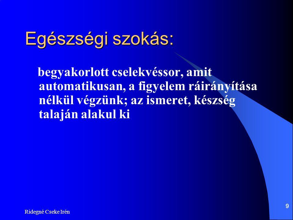Ridegné Cseke Irén120 Túlzott evés és kövérség  Tudatos önmérséklet szerepe  Stresszkezelés  Külső jelzésekre való érzékenység (látvány, illat, íz)  Belső jelzésekre való érzékenység csökkenése (telítődés érzékelése)