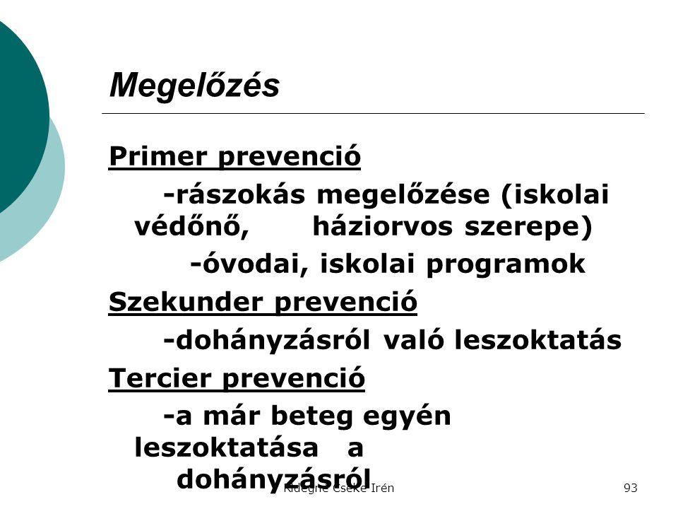 Ridegné Cseke Irén93 Megelőzés Primer prevenció -rászokás megelőzése (iskolai védőnő, háziorvos szerepe) -óvodai, iskolai programok Szekunder prevenci