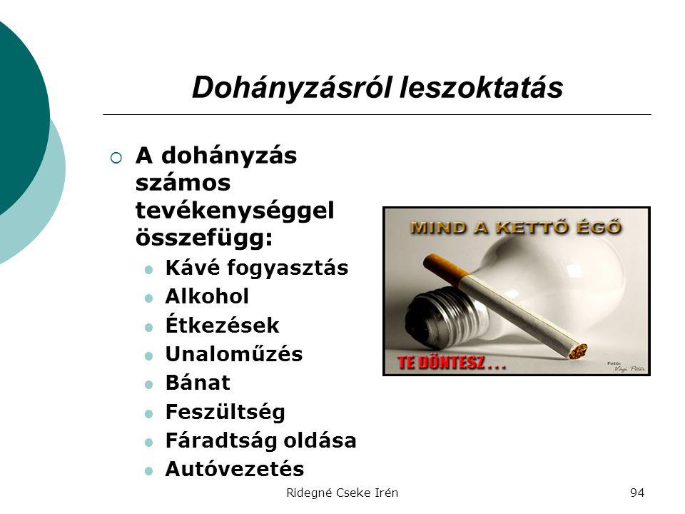 Ridegné Cseke Irén94 Dohányzásról leszoktatás  A dohányzás számos tevékenységgel összefügg:  Kávé fogyasztás  Alkohol  Étkezések  Unaloműzés  Bá