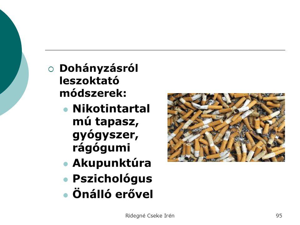 Ridegné Cseke Irén95  Dohányzásról leszoktató módszerek:  Nikotintartal mú tapasz, gyógyszer, rágógumi  Akupunktúra  Pszichológus  Önálló erővel