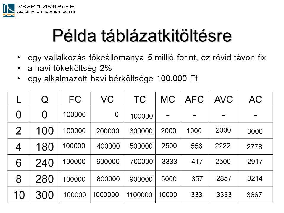 Példa táblázatkitöltésre •egy vállalkozás tőkeállománya 5 millió forint, ez rövid távon fix •a havi tőkeköltség 2% •egy alkalmazott havi bérköltsége 1