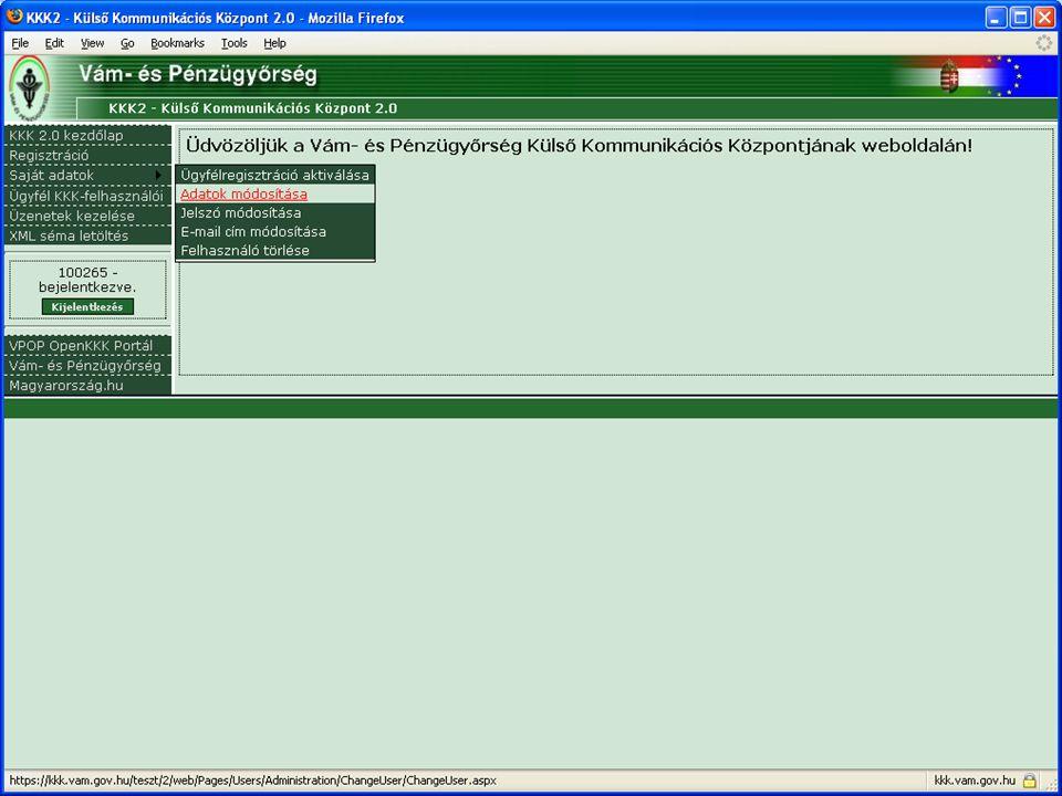 Tisztelt Teszt Ügyfél! Értesítjük, hogy Önt, mint KKK-WEB felhasználót Teszt Ügyfél néven, 100265 belépési néven rendszerünkben regisztráltuk. Regiszt