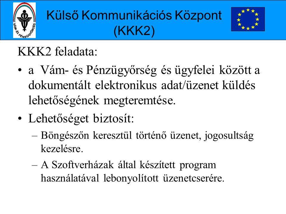 KKK2 feladata: •a Vám- és Pénzügyőrség és ügyfelei között a dokumentált elektronikus adat/üzenet küldés lehetőségének megteremtése.