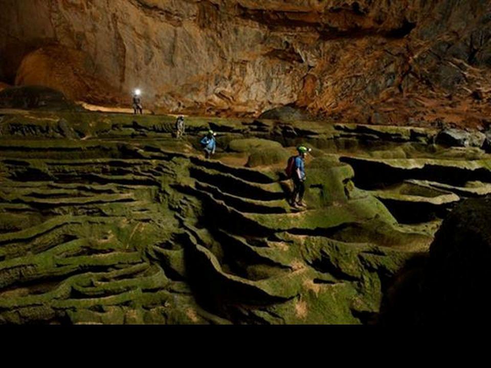 Algáktól zöldre festett és kövévált vizesésre emlékeztetö mészköfal állta el a fáradt barlangászok, felfedezö útját