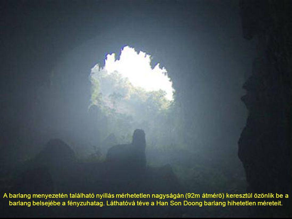 Rálátás az égboltra, a barlang beszakadt menyezetén keresztül
