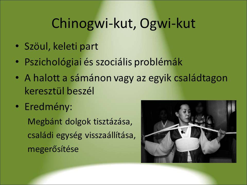 Chinogwi-kut, Ogwi-kut • Szöul, keleti part • Pszichológiai és szociális problémák • A halott a sámánon vagy az egyik családtagon keresztül beszél • Eredmény: Megbánt dolgok tisztázása, családi egység visszaállítása, megerősítése