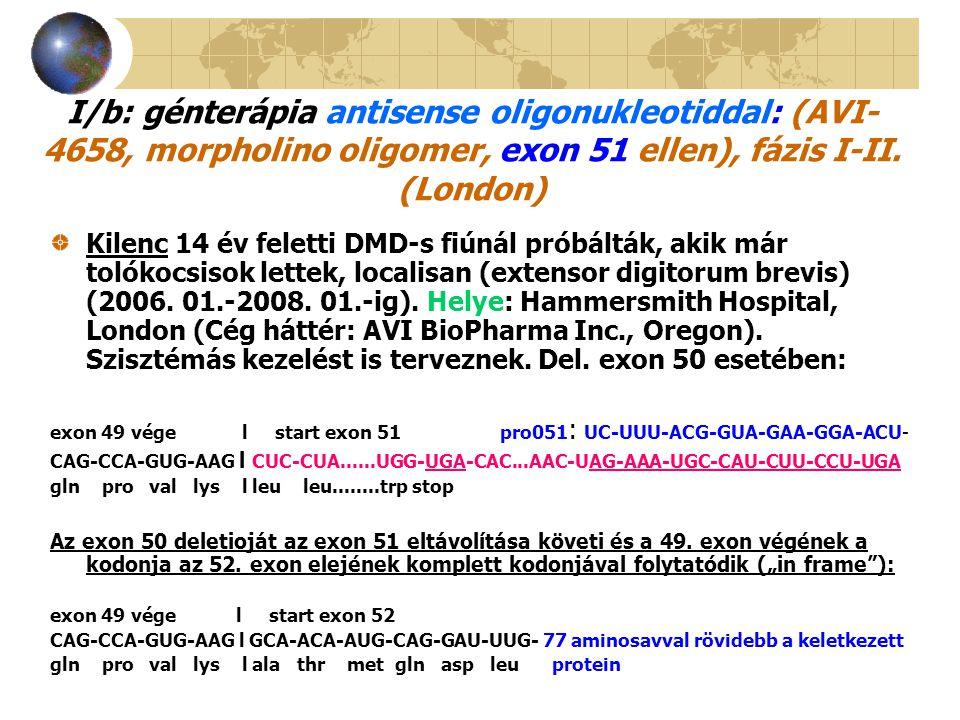 I/b: génterápia antisense oligonukleotiddal: (AVI- 4658, morpholino oligomer, exon 51 ellen), fázis I-II. (London) Kilenc 14 év feletti DMD-s fiúnál p
