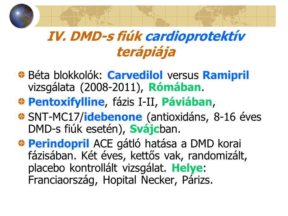 IV. DMD-s fiúk cardioprotektív terápiája Béta blokkolók: Carvedilol versus Ramipril vizsgálata (2008-2011), Rómában. Pentoxifylline, fázis I-II, Páviá